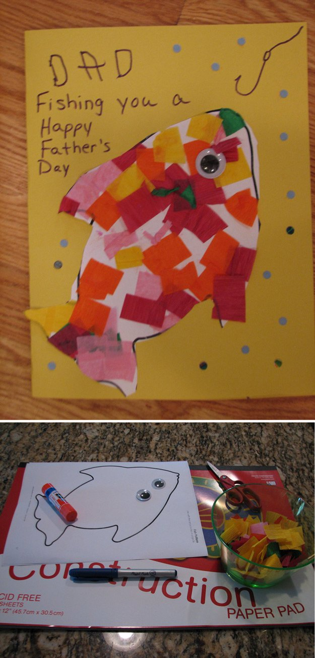 Simple and Easy DIY Father's Day Card from Toddlers | http://www.foliver.com/diy/21-diy-ideas-for-fathers-day-cards/