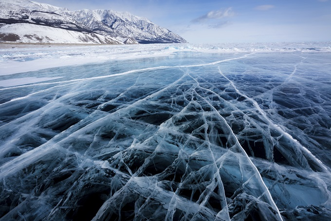 View of ice surface of Baikal lake
