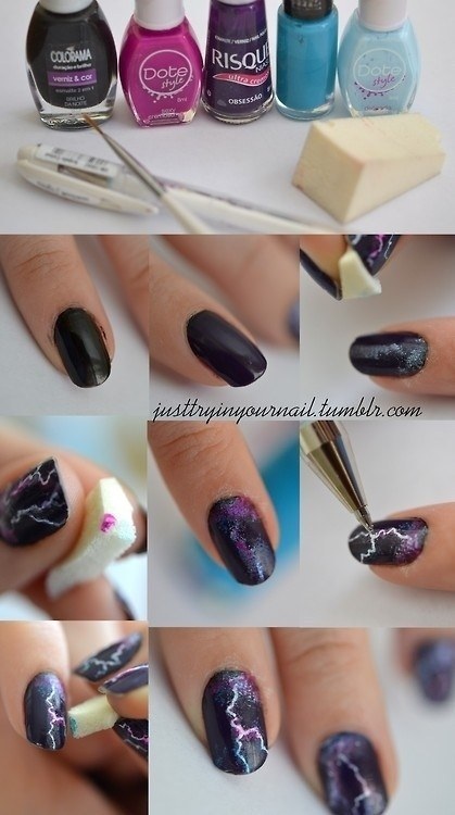 This one is reverse nail art-you scrape the polish off for the effect.