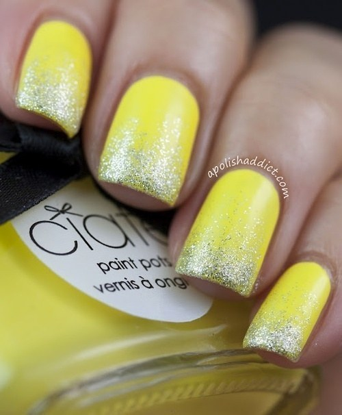 Get an easy gradient by applying a glitter top coat to half the nail.