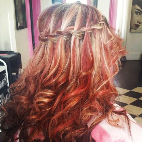 12-red-balayage-hair-with-waterfall-braid