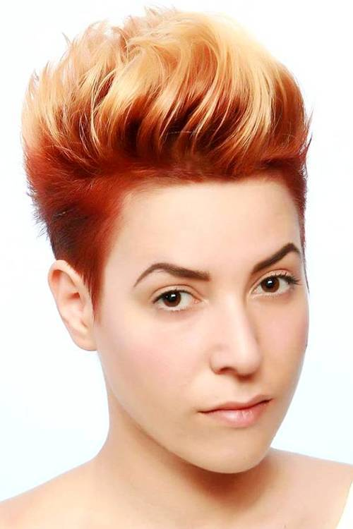 2 Short Red Hair With Blonde Ombre Highlights