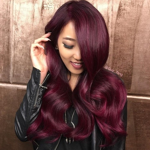 3 Long Bright Burgundy Hair