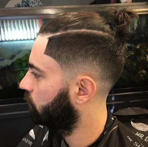 3-man-bun-with-side-fade-hipster-hairstyle