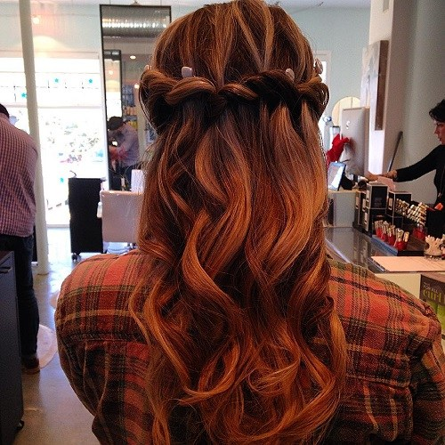 3-red-curly-half-updo-with-waterfall-braid