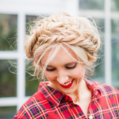 6-messy-Blonde-updo-with-fishtail-braids