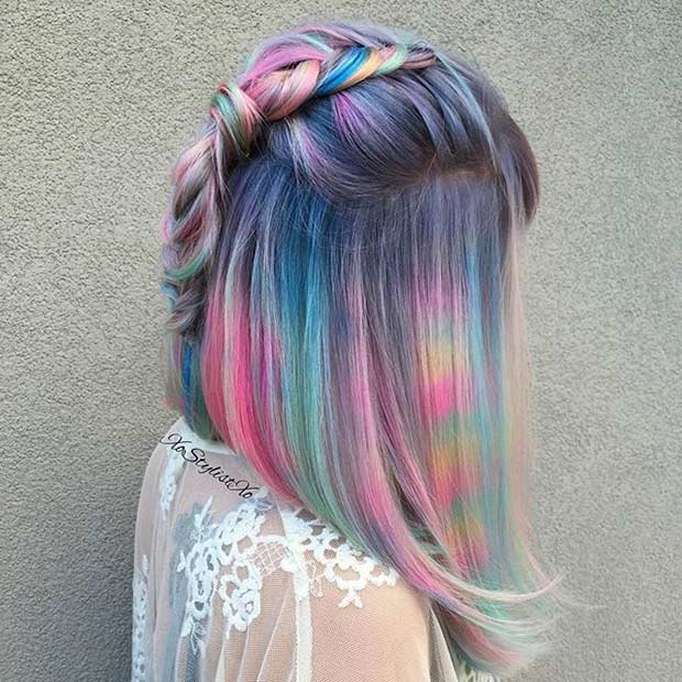 1 Short Pastel Rainbow Hair