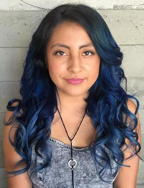 Gimme The Blues Bold Blue Highlight Hairstyles Page 10 Foliver Blog