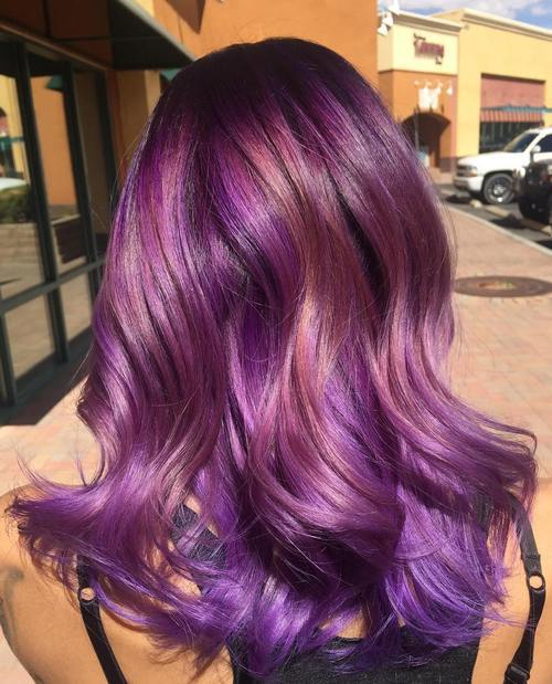 20 versatile ideas of purple highlights for blonde brown and red 11 purple hair with rosewood highlights pmusecretfo Image collections