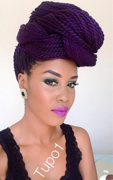 16 Purple Twists Updo