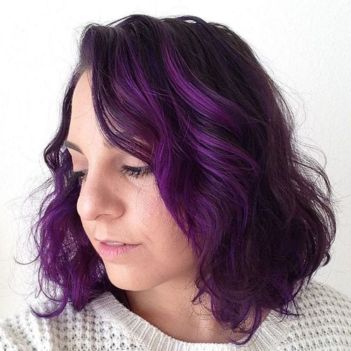 20 Versatile Ideas Of Purple Highlights For Blonde Brown