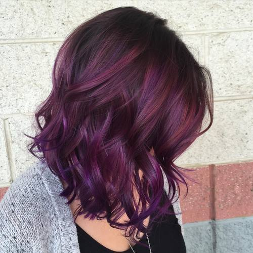 20 versatile ideas of purple highlights for blonde brown and red 2 dark brown to purple ombre pmusecretfo Gallery