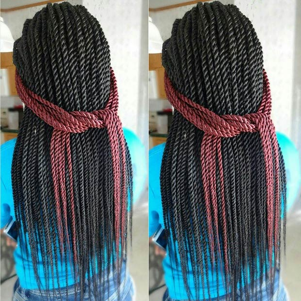 20 Senegalese Twists with a Pop of  Red Color