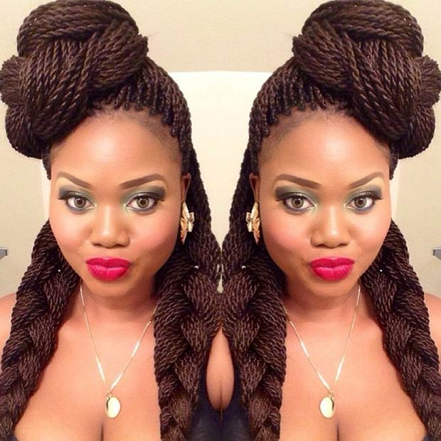3 Braided Top Knot 2 French Braids