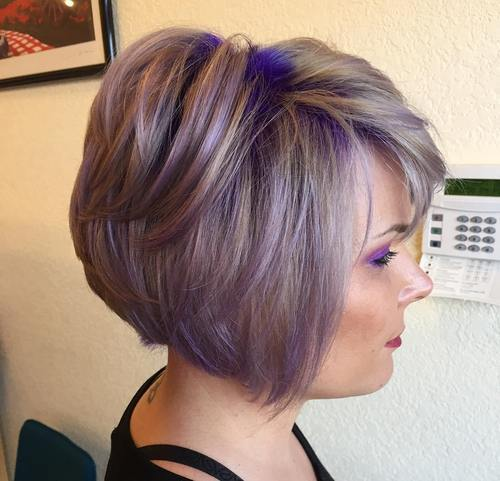 20 versatile ideas of purple highlights for blonde brown and red 4 ash brown bob with purple balayage pmusecretfo Choice Image