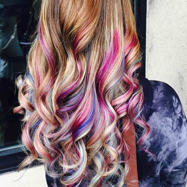 6-Colorful-Highlights-on-a-Long-Curly-Hair