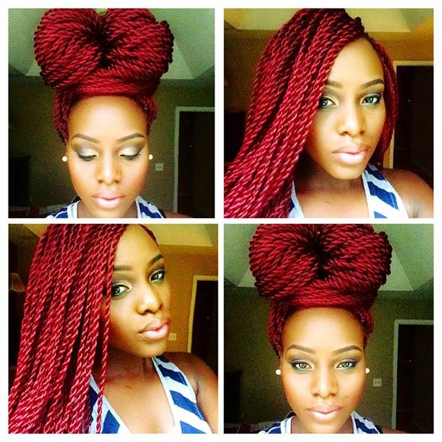 6 Hot Red Twists into a High Bun