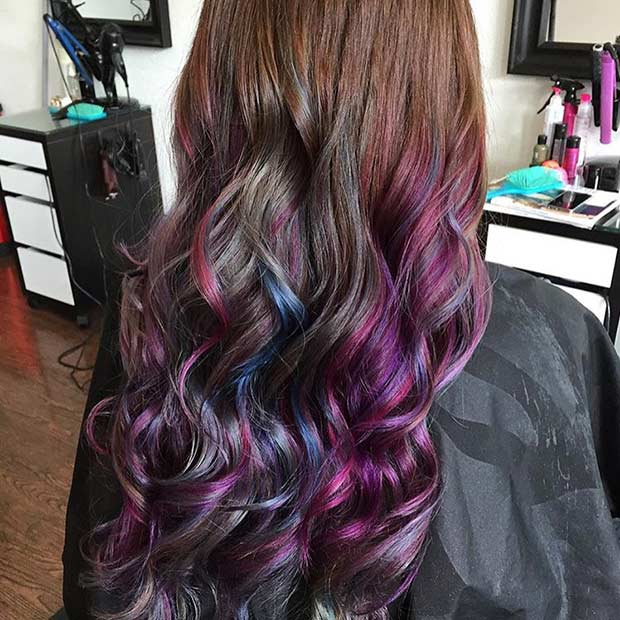 21 looks that will make you crazy for purple hair page 8 7 dark purple highlights on long hair pmusecretfo Image collections