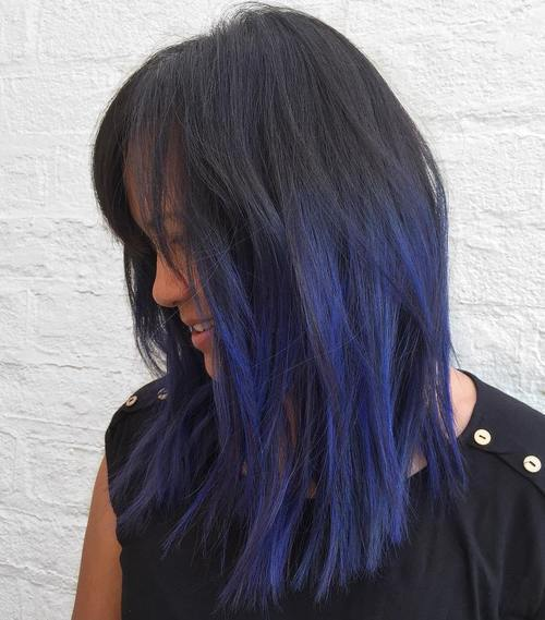 Gimme the blues bold blue highlight hairstyles page 8 foliver 8 layered black hairstyle with blue highlights pmusecretfo Images