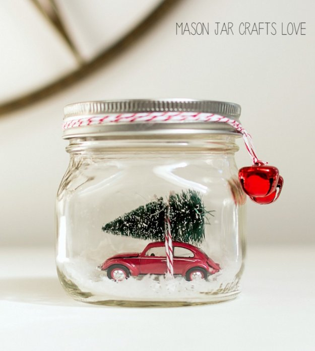 Car in a Jar Snow Globe|30 Awesome DIY Crafts With Mini Mason Jars