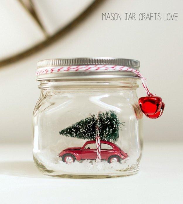Car in a Jar Snow Globe|30 Awesome DIY Crafts With Mini Mason Jars