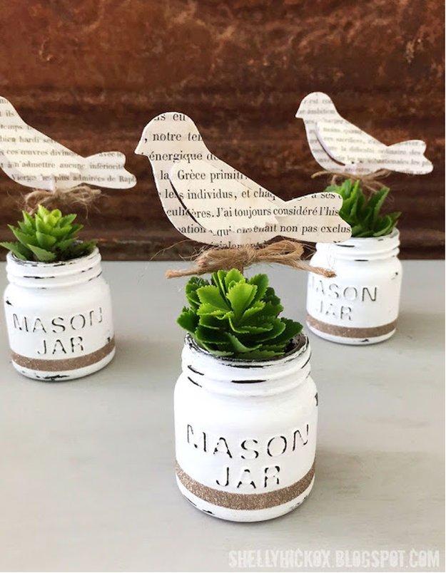 DecoArt Chalk Paint Mini Mason Jar Planters|30 Awesome DIY Crafts With Mini Mason Jars