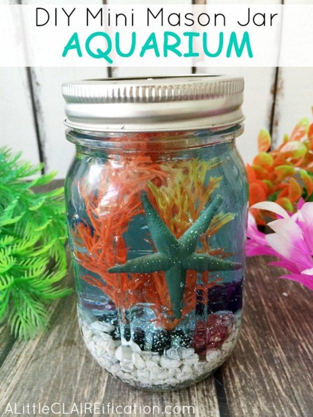 Mini Mason Jar Aquarium|30 Awesome DIY Crafts With Mini Mason Jars
