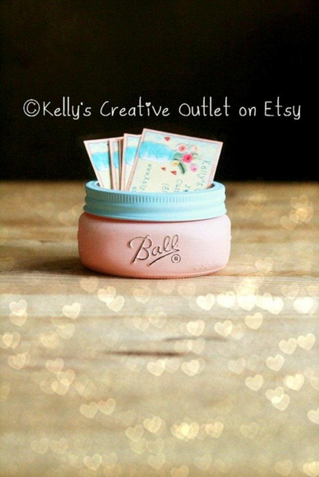 Business Card Holder|23 DIY Crafts With Mini Mason Jars