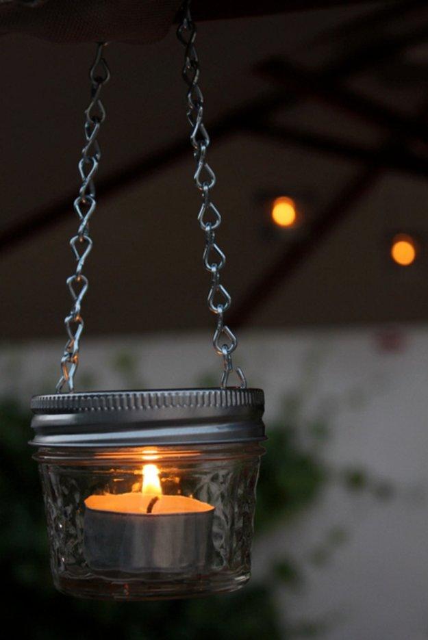 DIY Hanging Candle Holder|23 DIY Crafts With Mini Mason Jars