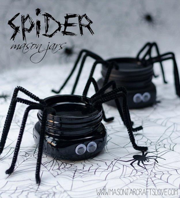 Spider Mason Jar 23 DIY Crafts With Mini Mason Jars