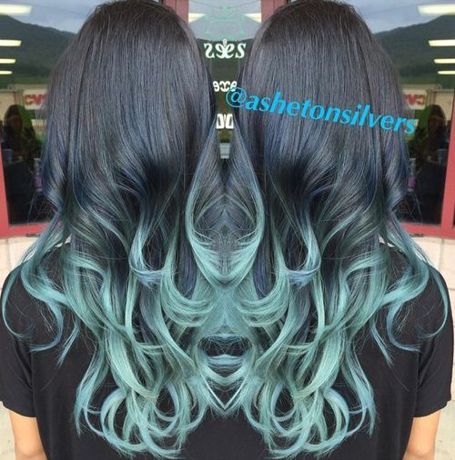 1 turquoise blue and black ombre waves