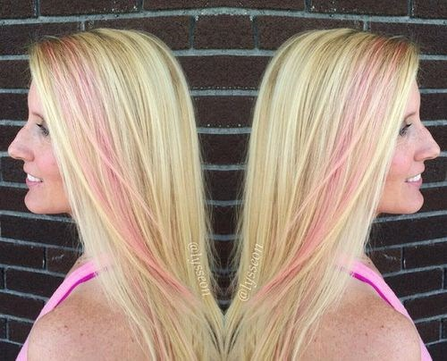 12 Blonde Hair With Pastel Pink Stripe