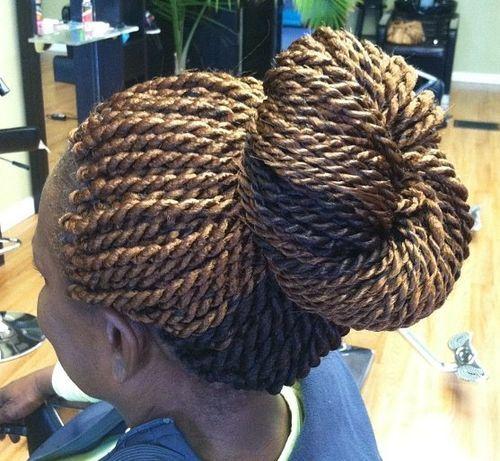 17-golden-blonde-and-black-Senegalese-twist-bun-updo