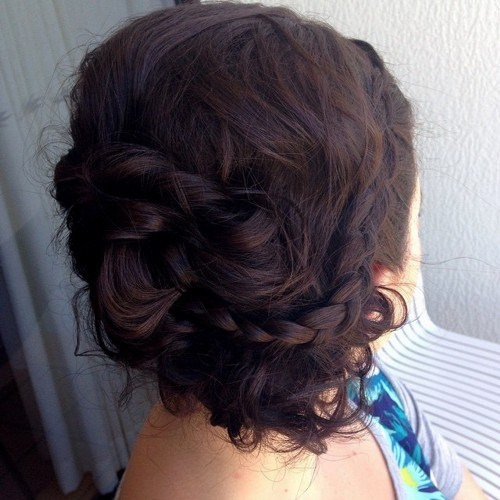 2-messy-brunette-updo-with-a-braid-for-medium-hair