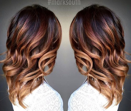 5 curly chocolate into caramel ombre