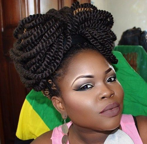 7-bow-updo-for-Senegalese-twists