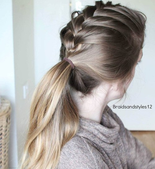 1 braid into low pony casual hairstyle