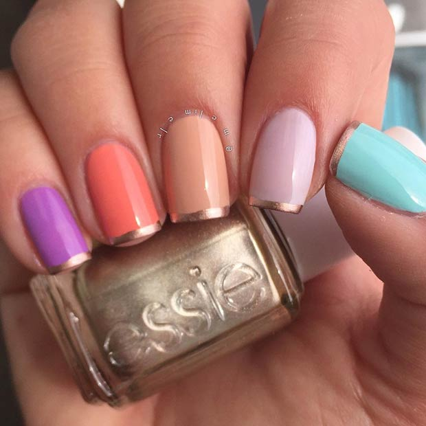 11 Colorful French Tip Nail Design with a Twist