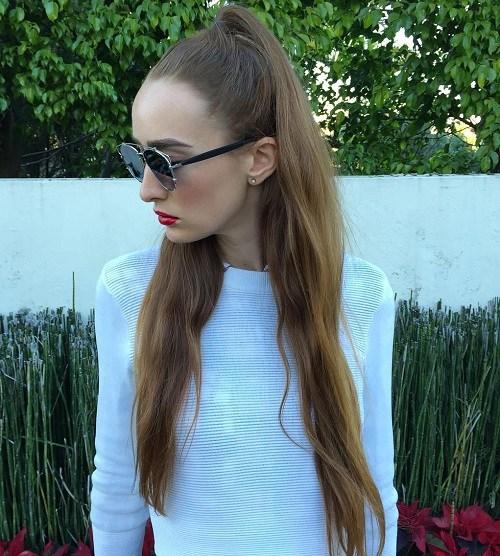 11 long half up ponytail