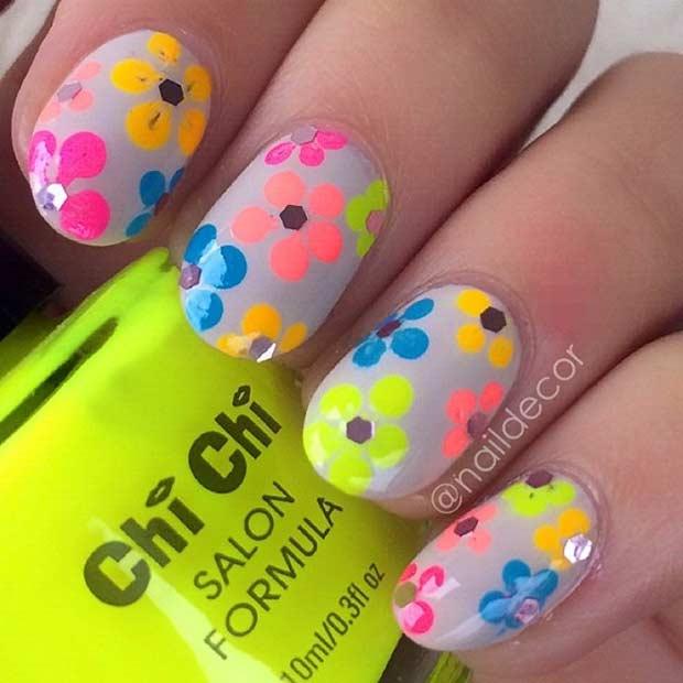 12 Neon Flower Nail Design for Summer