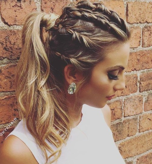 12 braids and ponytail messy hairstyle