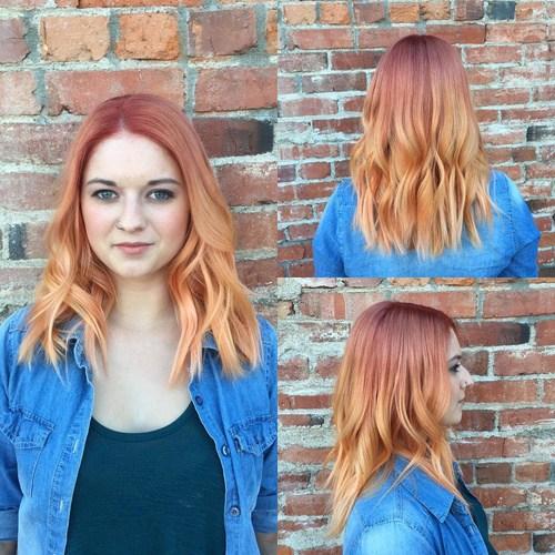 12 long reddish brown curls