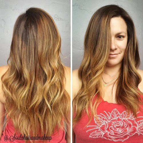 13 side parted hair with subtle ombre