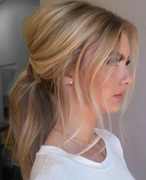 17 low messy ponytail
