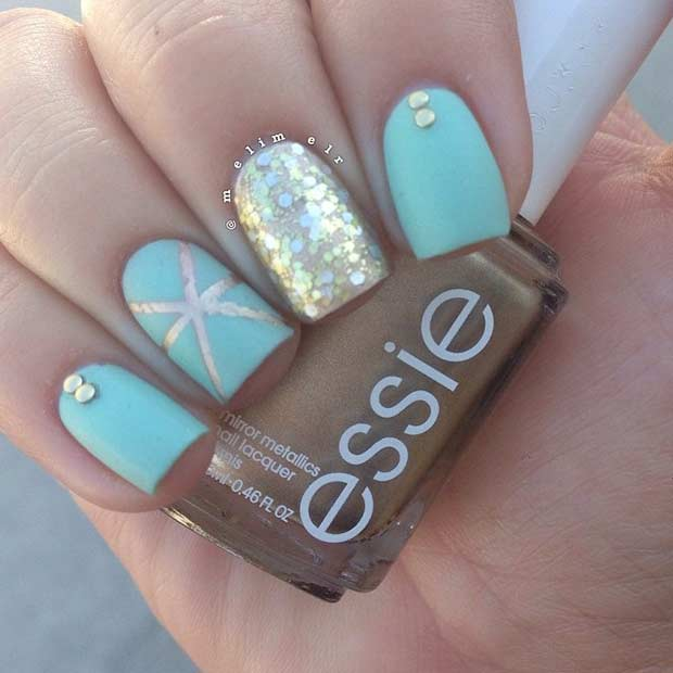 35 bright summer nail designs page 18 foliver blog 18 teal gold matte nail design for summer prinsesfo Gallery
