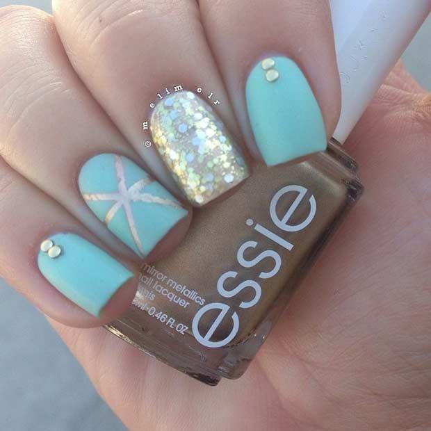 18 Teal Gold Matte Nail Design for Summer