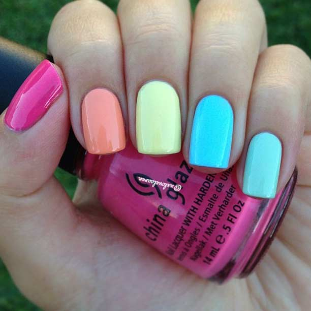 19 Simple Colorful Nail Design for Summer