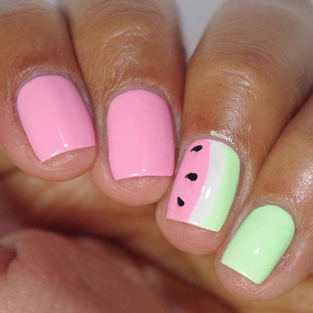 35 bright summer nail designs page 2 foliver blog 2 short watermelon nail design for summer prinsesfo Images