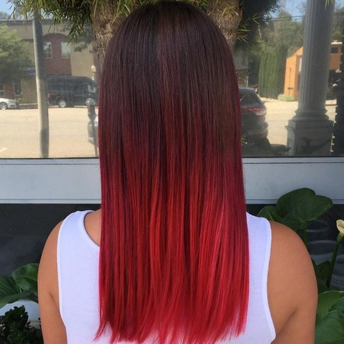 2 bright and bold black to red ombre