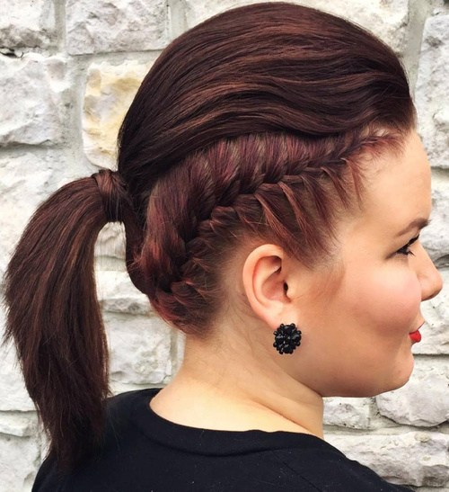 2 mohawk inspired ponytail with braid
